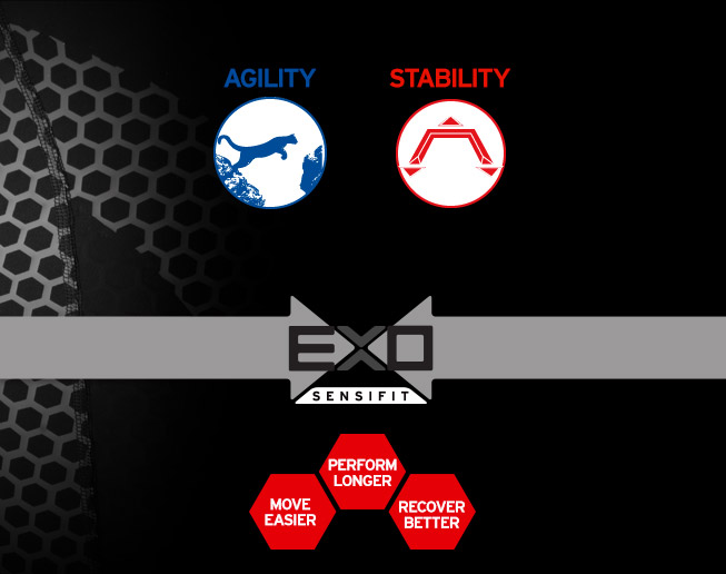 EXO TECHNOLOGY IS COMPRESSION APPAREL DESIGNED TO HELP YOUR MUSCLES WORK MORE EFFICIENTLY SO THAT YOU CAN RUN LONGER, RUN EASIER, AND RECOVER BETTER. WITH SPECIFIC LEVELS OF SUPPORT AND WARMTH FOR DIFFERENT NEEDS, EXO IS THE ONLY COMPRESSION APPAREL THAT HELPS ATHLETES OF EVERY LEVEL GET THE MOST OUT OF THEIR WORKOUTS.